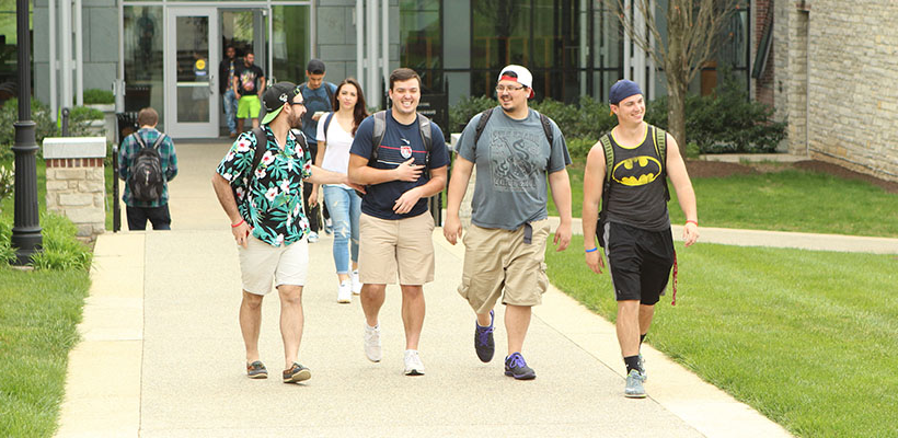 students walking from class in the Doering Center