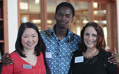 Student and professors at career services event